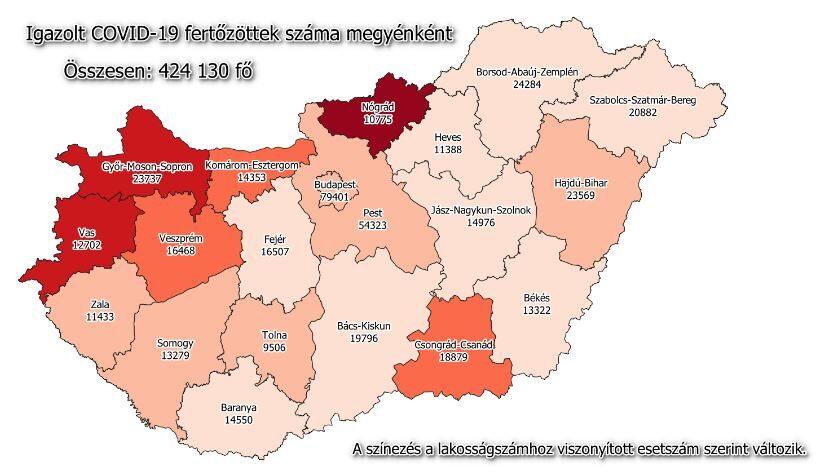 Koronavírus fertőzöttek száma Magyarországon, 2021. február 27.