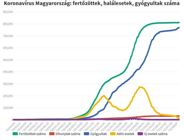Koronavírus fertőzöttek, 2021.08.17.