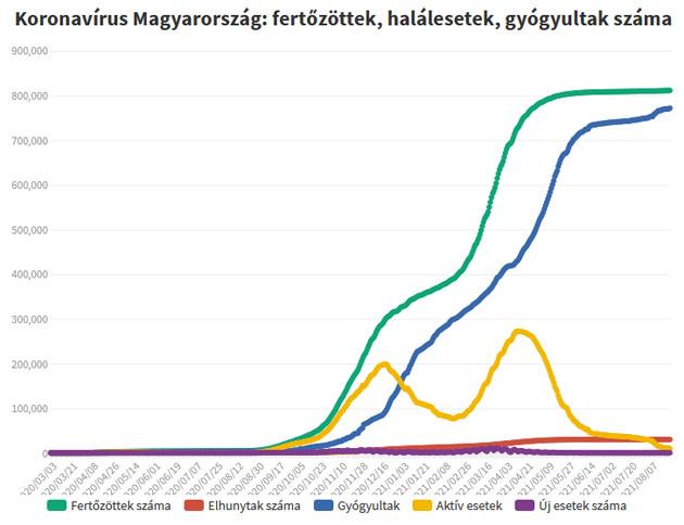 Koronavírus fertőzöttek, 2021.08.24.