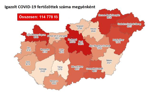 Koronavírusos betegek megyénként, 2020.11.09.
