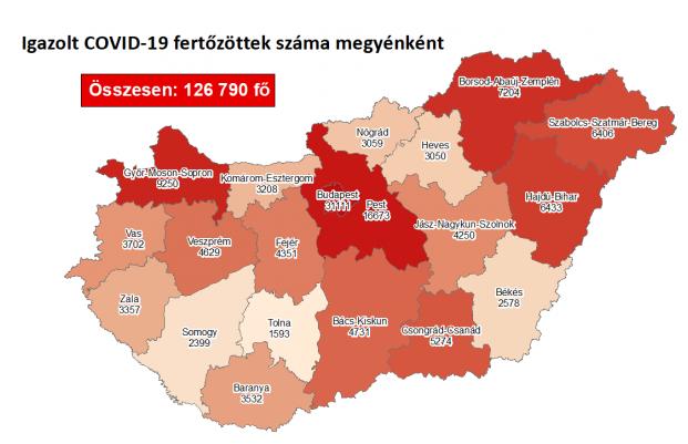 Koronavírus fertőzöttek megyénként, 2020.11.12.