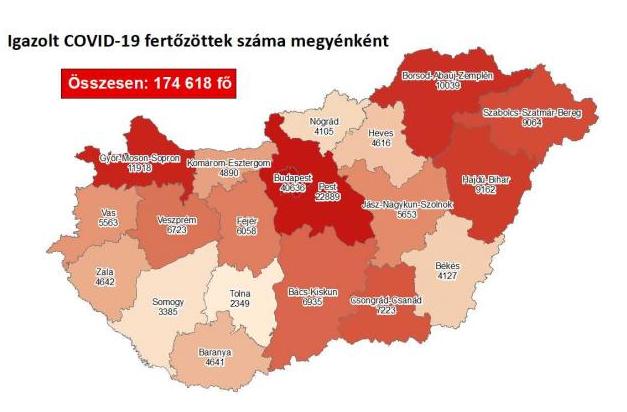 Koronavírus fertőzöttek megyénként, 2020.11.22.