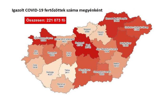 Koronavírus fertőzöttek megyénként, 2020.12.01.
