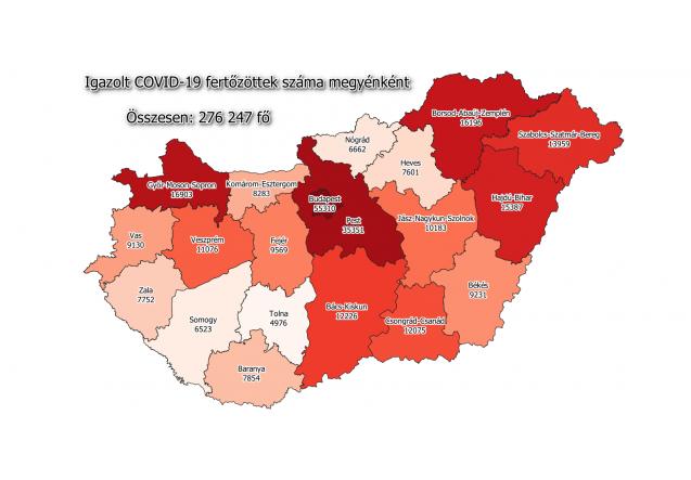 Koronavírus fertőzöttek megyénként, 2020.12.12.