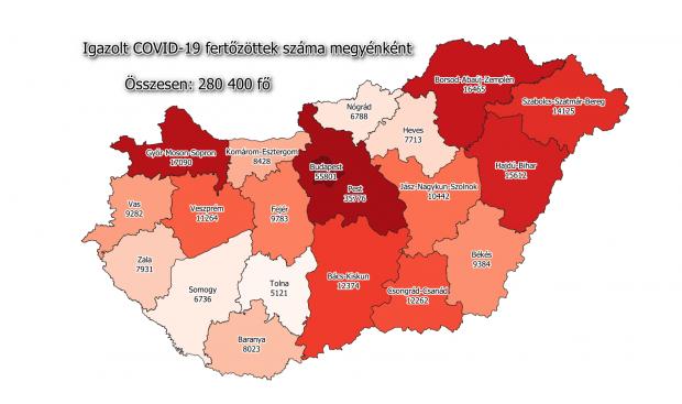 Koronavírus fertőzöttek megyénként, 2020.12.13.