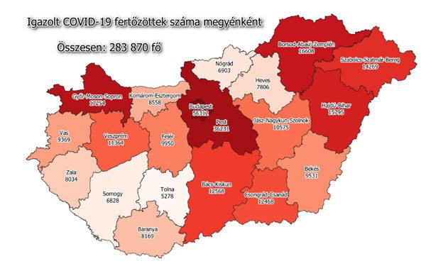 Koronavírus fertőzöttek megyénként, 2020.12.14.
