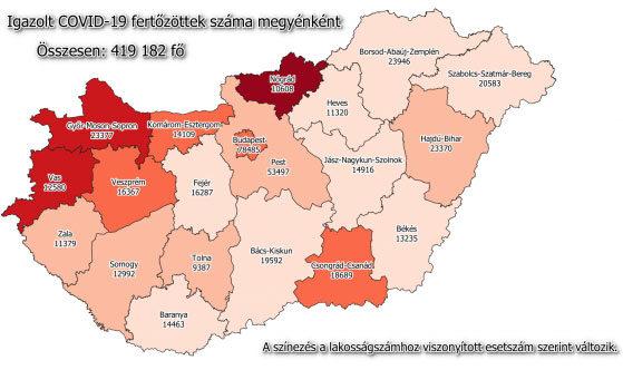 Koronavírus fertőzöttek száma Magyarországon, 2021. február 26-án