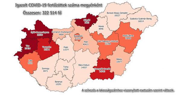 Koronavírus esetszám megyei bontásban, 2020. december 31.
