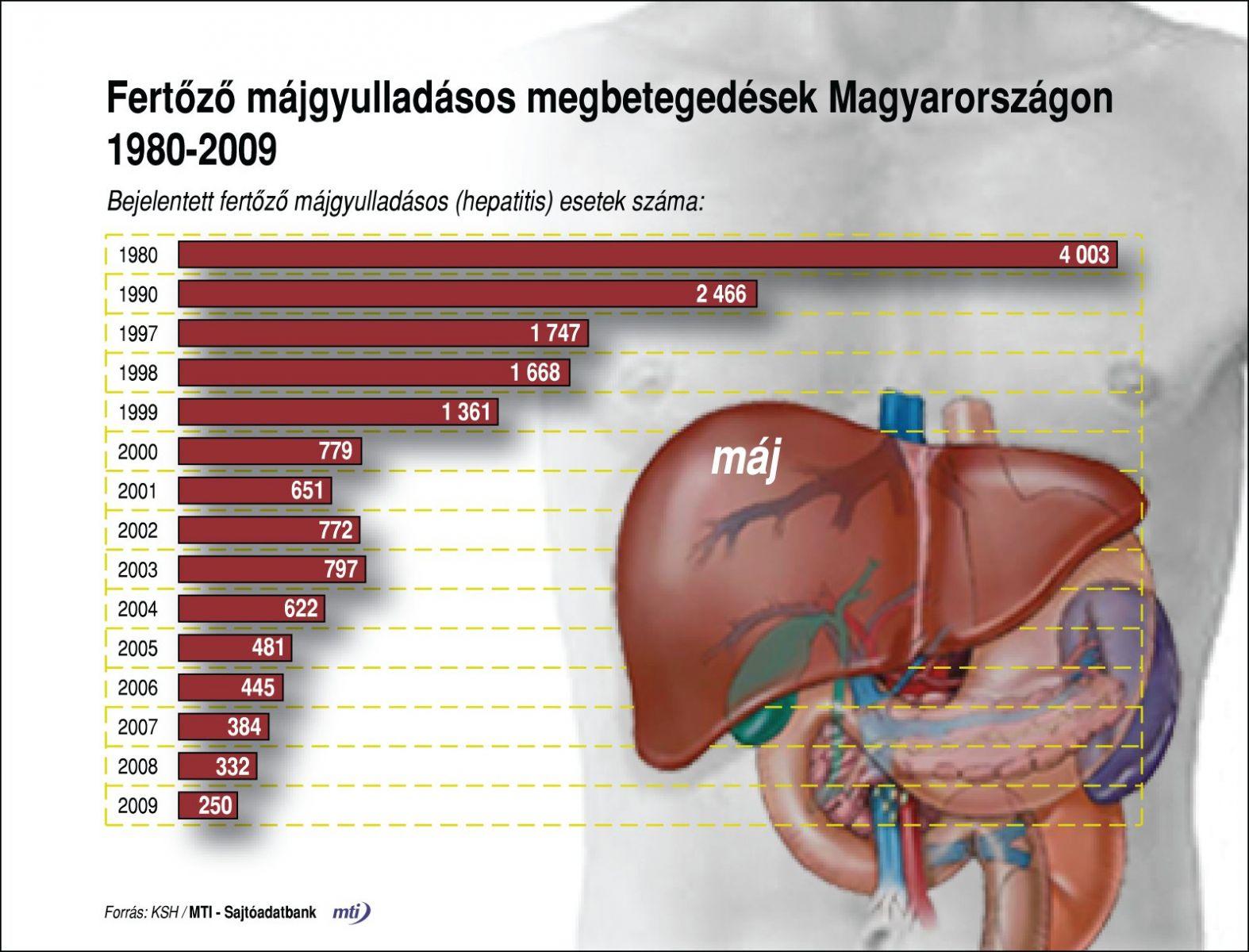Hepatitiszes megbetegedések Magyarországon 1980-2009