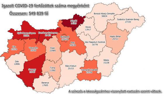 Koronavírus fertőzöttek száma megyei bontásban, 2021 március 19-én