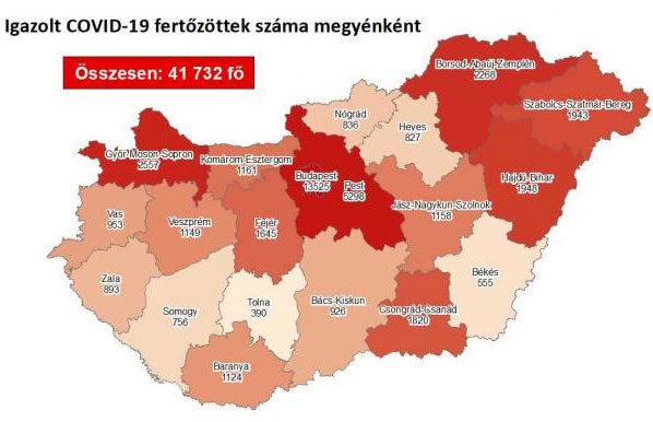 Koronavírus-fertőzöttek Magyarországon, megyénként, 2020. október 15.