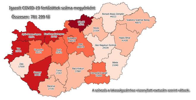 Igazolt COVID-19-fertőzöttek száma hazánkban megyénként 2021.05.01-jén