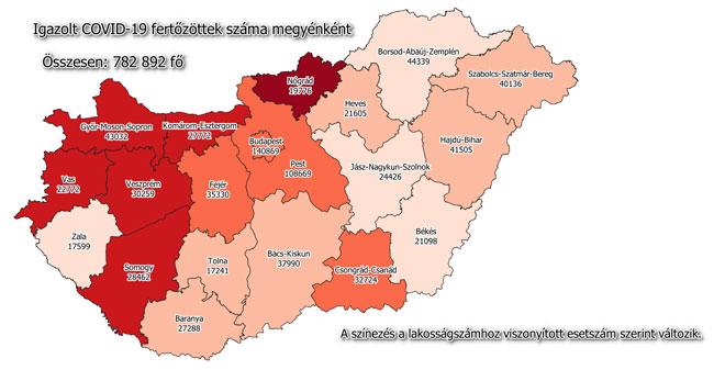 Igazolt COVID-19-fertőzöttek száma hazánkban megyénként 2021.05.02-án
