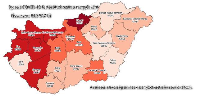 Igazolt COVID-19-fertőzöttek száma hazánkban megyénként 2021.09.23-án