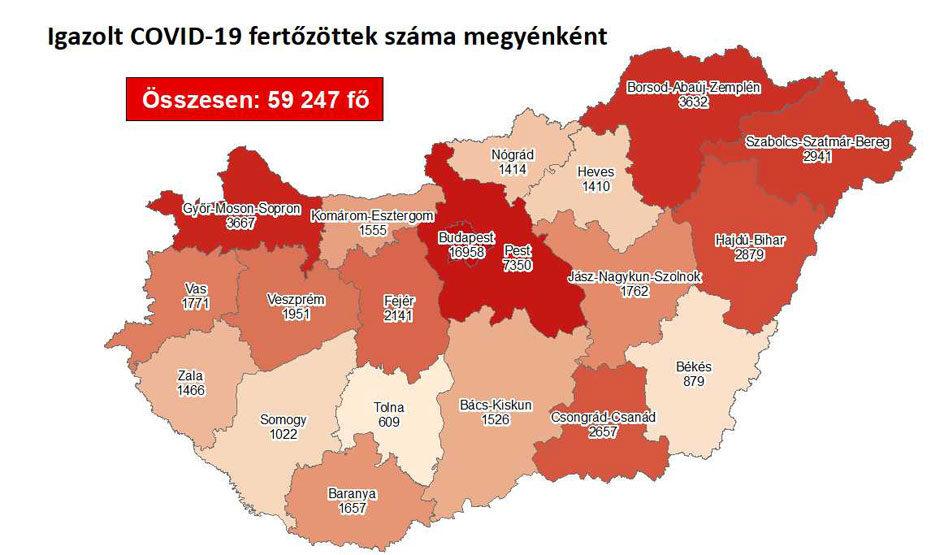 Igazolt COVID-19-fertőzöttek száma hazánkban megyénként 2020.10.25-én