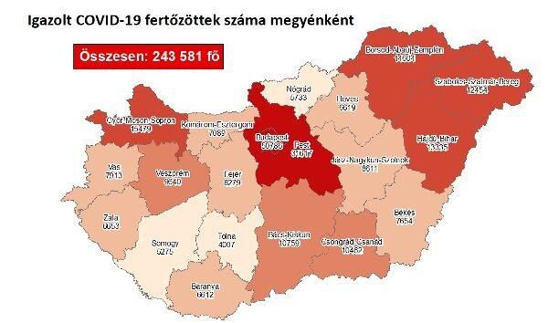 Igazolt COVID-19-fertőzöttek száma hazánkban megyénként 2020.12.5-én