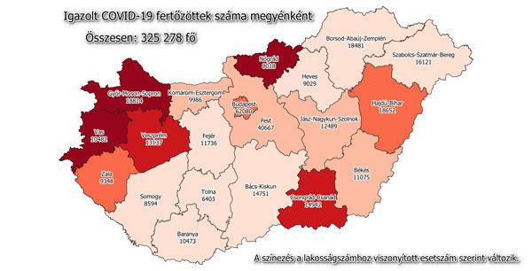 Igazolt COVID-19-fertőzöttek száma hazánkban megyénként 2021.01.1-jén