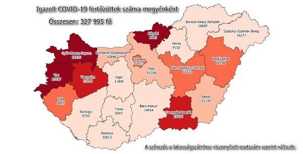 Igazolt COVID-19-fertőzöttek száma hazánkban megyénként 2021.01.3-án