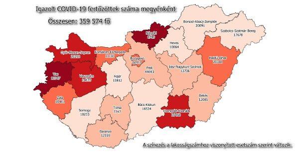 Igazolt COVID-19-fertőzöttek száma hazánkban megyénként 2021.01.24-én