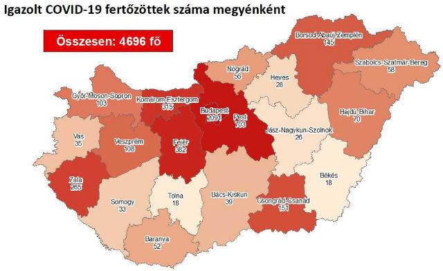 Igazolt COVID-19-fertőzöttek száma megyénként Magyarországon 2020.08.09-én