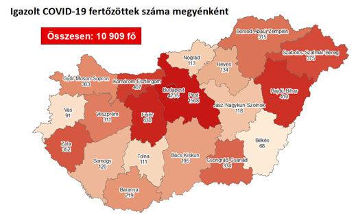 Igazolt COVID-19-fertőzöttek száma megyénkent hazánkban 2020.09.11-én